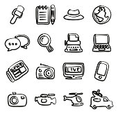 Journalist Or Reporter Icons Freehand