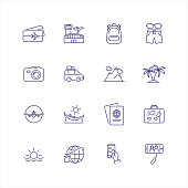 Journey line icon set