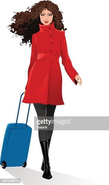 illustrations, cliparts, dessins animés et icônes de voyage - femme bcbg