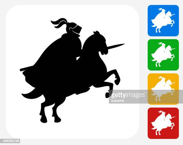 jousting knight icon flat graphic design - javelin stock illustrations