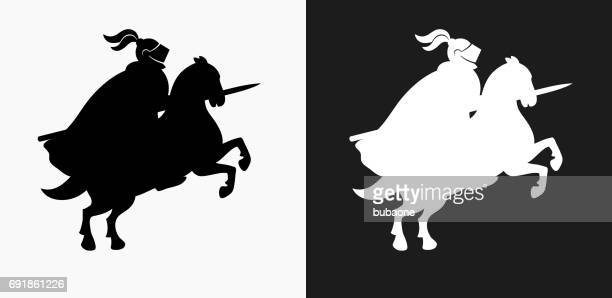jousting knight icon on black and white vector backgrounds - sport set competition round stock illustrations