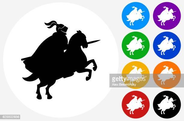 jousting ritter symbol auf flache farbe kreis tasten - sportturnier runde stock-grafiken, -clipart, -cartoons und -symbole