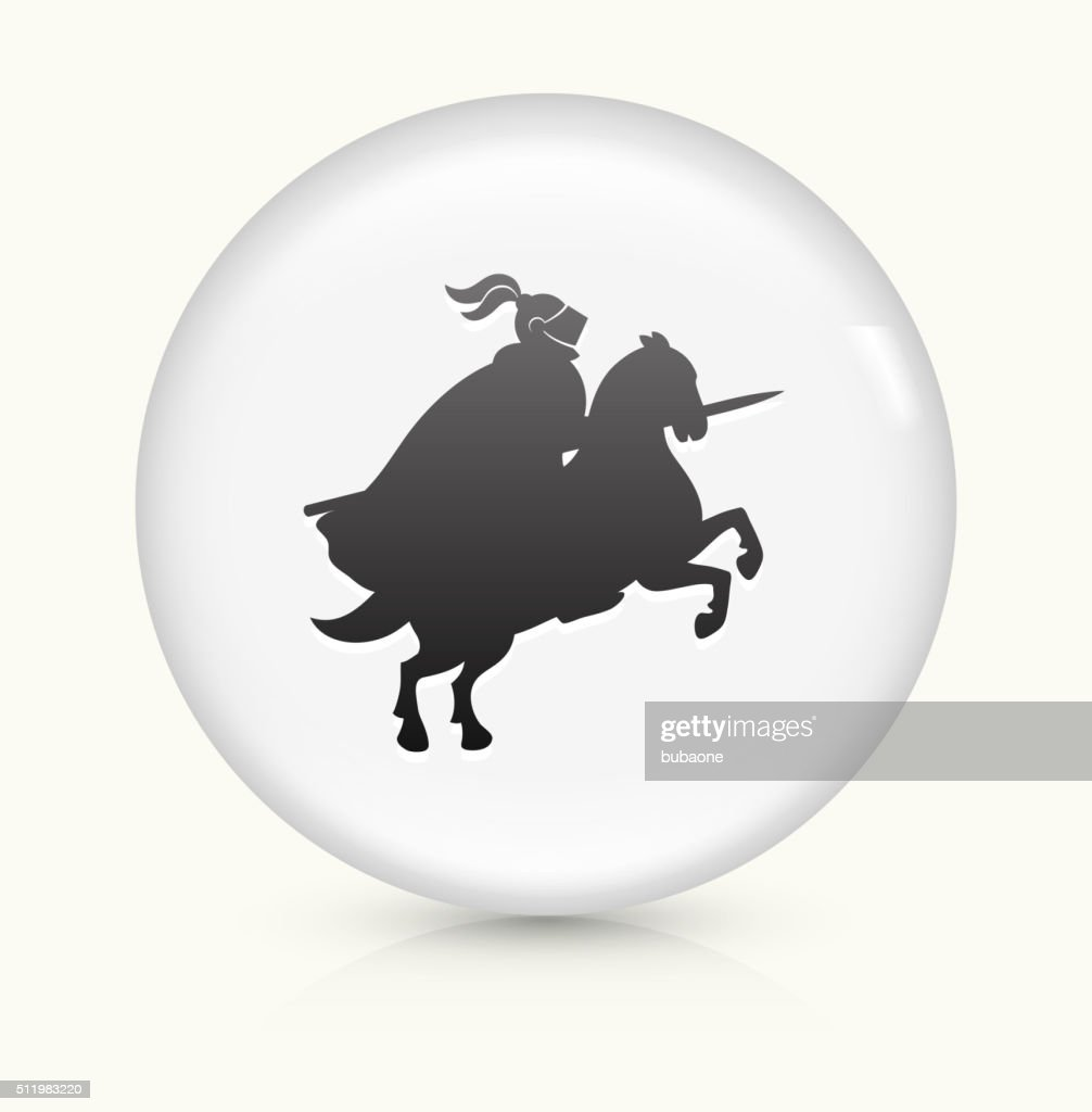 Jousting Knight icon on white round vector button