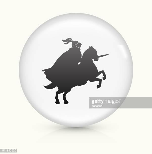 ritterturnier ritter symbol auf weißer runder vektor knopf - sportturnier runde stock-grafiken, -clipart, -cartoons und -symbole