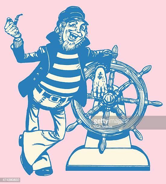 jovial ship captain at the wheel - boat captain stock illustrations, clip art, cartoons, & icons