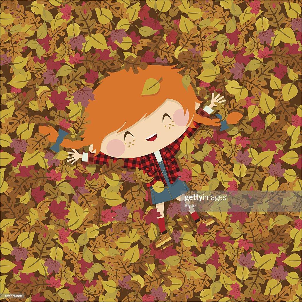 Joy autumn. girl fall illustration vector