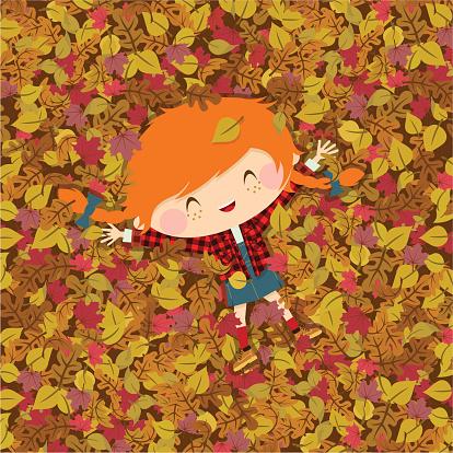 Joy autumn. girl fall illustration vector - gettyimageskorea