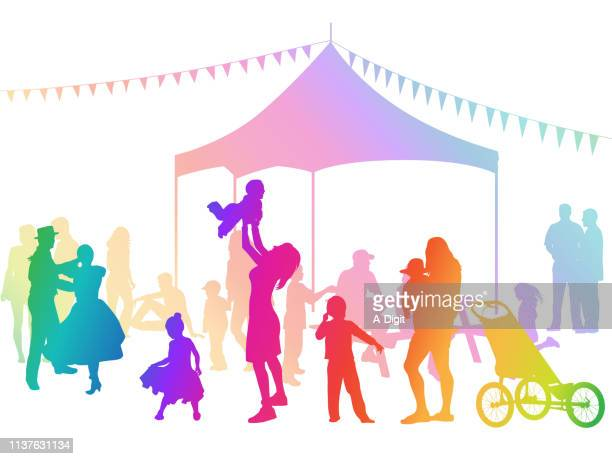joy flag festival rainbow - three wheeled pushchair stock illustrations, clip art, cartoons, & icons