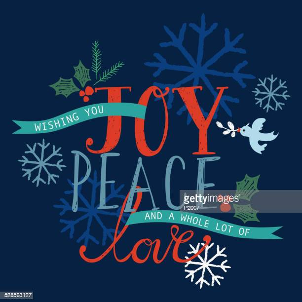 joy, peace and love holiday card - symbols of peace stock illustrations