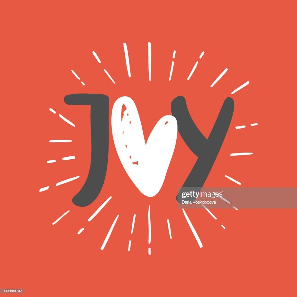 Joy phrase. Greeting card.