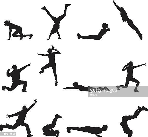 ilustraciones, imágenes clip art, dibujos animados e iconos de stock de alegría silueta - salto de longitud