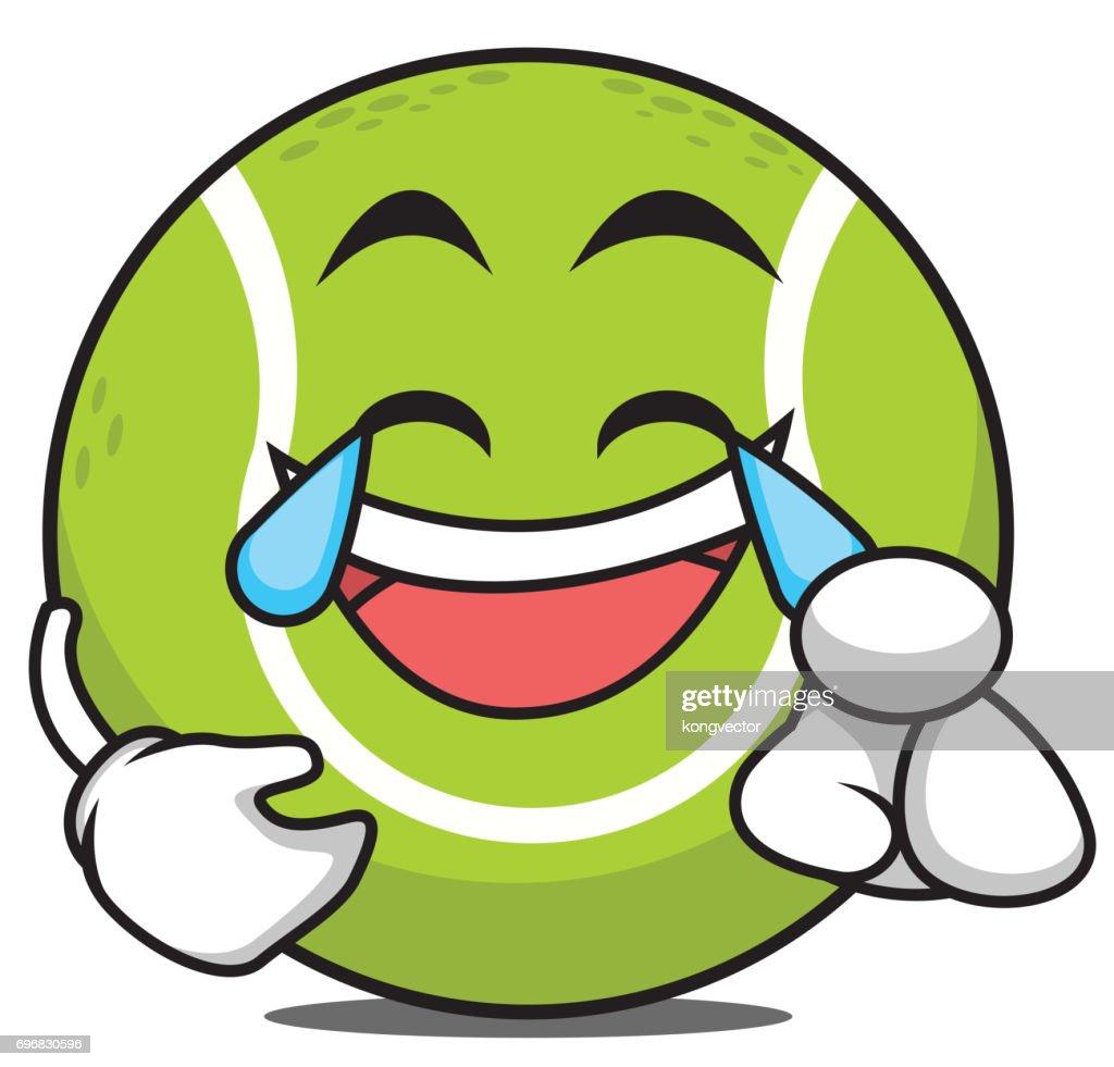 Joy tennis ball cartoon character vector illustration