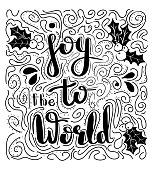 Joy to the world - handdrawn illustration. Handwritten Christmas wishes for holiday greeting cards. Handwritten lettering. Winter Holiday. Handdrawn lettering. New Year card design elements. Vector.