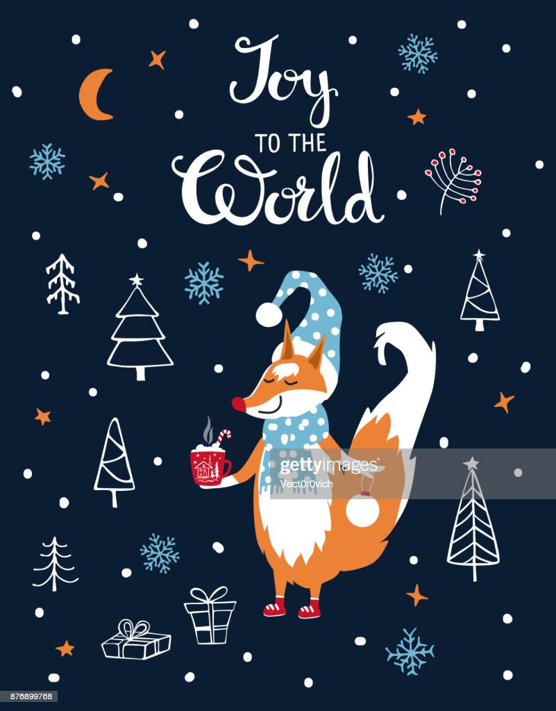 Joy To The World Merry Christmas Greeeting Card With Cute Fox In