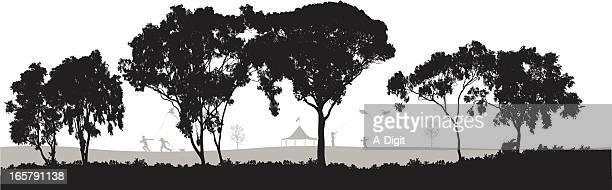 joy! vector silhouette - eucalyptus tree stock illustrations