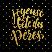 Joyeuse Fete Peres Father's Day greeting card. Gold glitter.