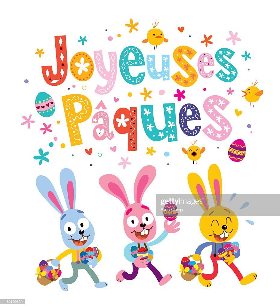 Joyeuses Paques Happy Easter In French Greeting Card Vector Art