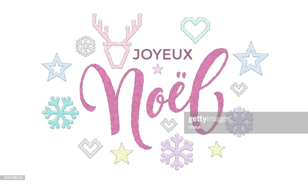 Joyeux noel french merry christmas calligraphy font and embroidery joyeux noel french merry christmas calligraphy font and embroidery decoration for holiday greeting card design vector christmas deer snowflake new year m4hsunfo