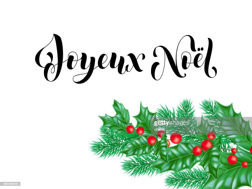 Joyeux Noel French Merry Christmas Calligraphy Font On White Premium ...
