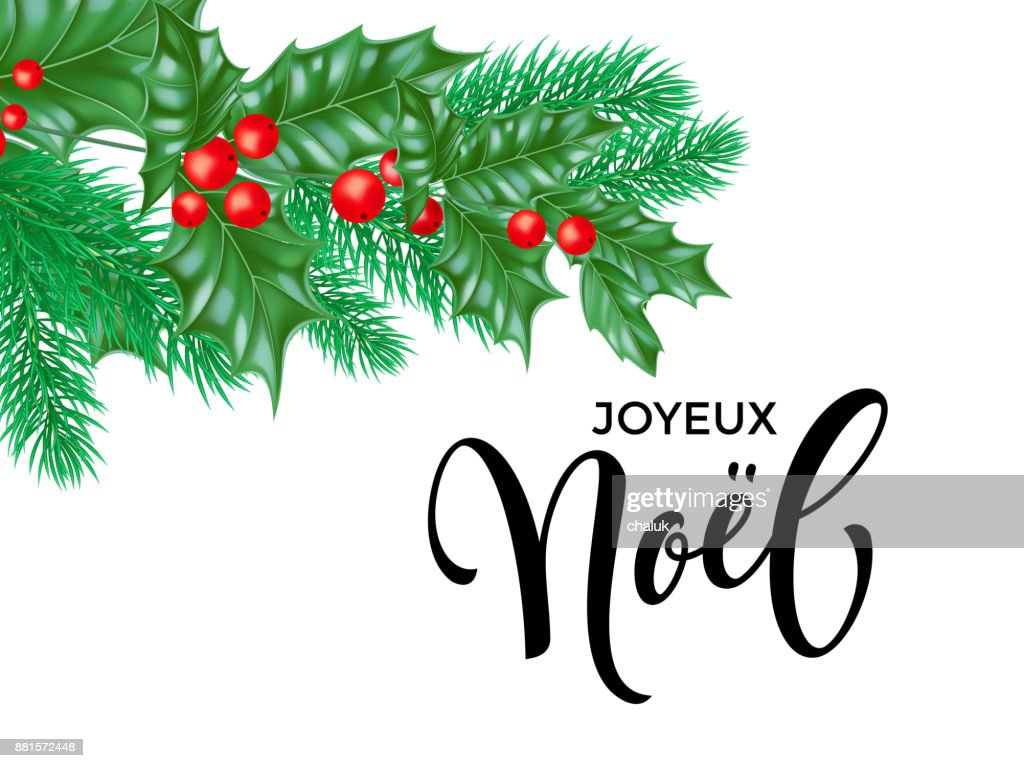 Joyeux Noel French Merry Christmas Hand Drawn Quote Calligraphy And