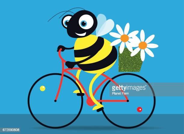 Joyful bee on a bicycle with flowers