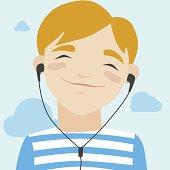 Joyful boy listening music illustration