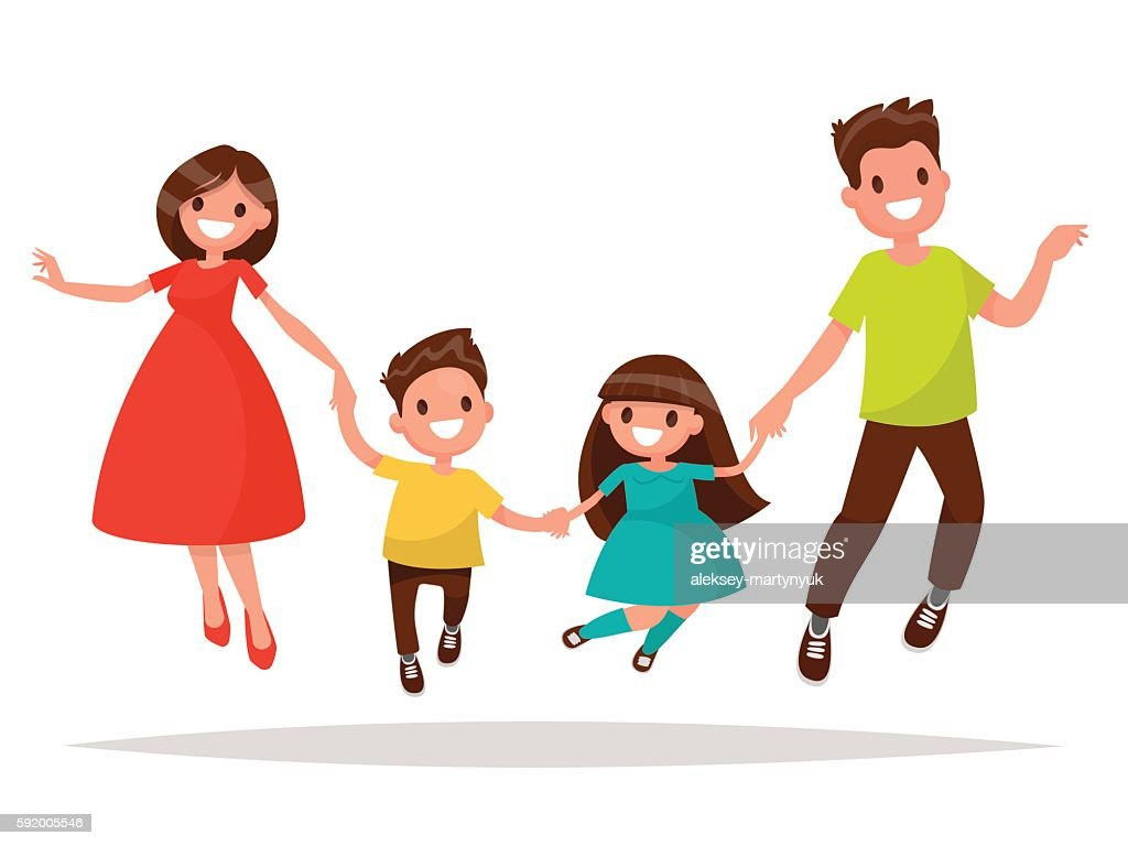 Joyful family is  jumping. Dad mom daughter and son holding