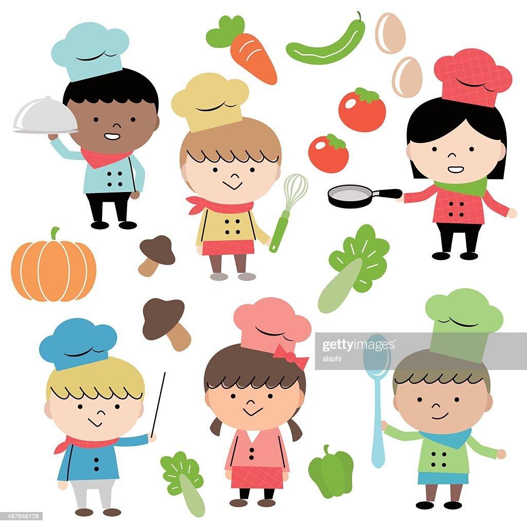 Joyful Group Of Multi Ethnic Children Chef (6 kids) Cooking