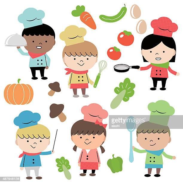 ilustraciones, imágenes clip art, dibujos animados e iconos de stock de alegre grupo de multi étnica niños chef de cocina a la vista de los niños (6 - chef