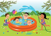 Joyful kids playing in inflatable pool in the backyard