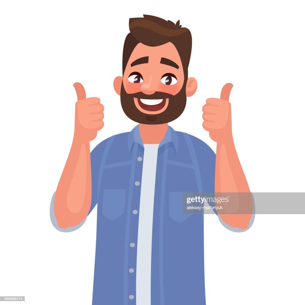 Joyful man shows gesture ñool. I like. Vector illustration