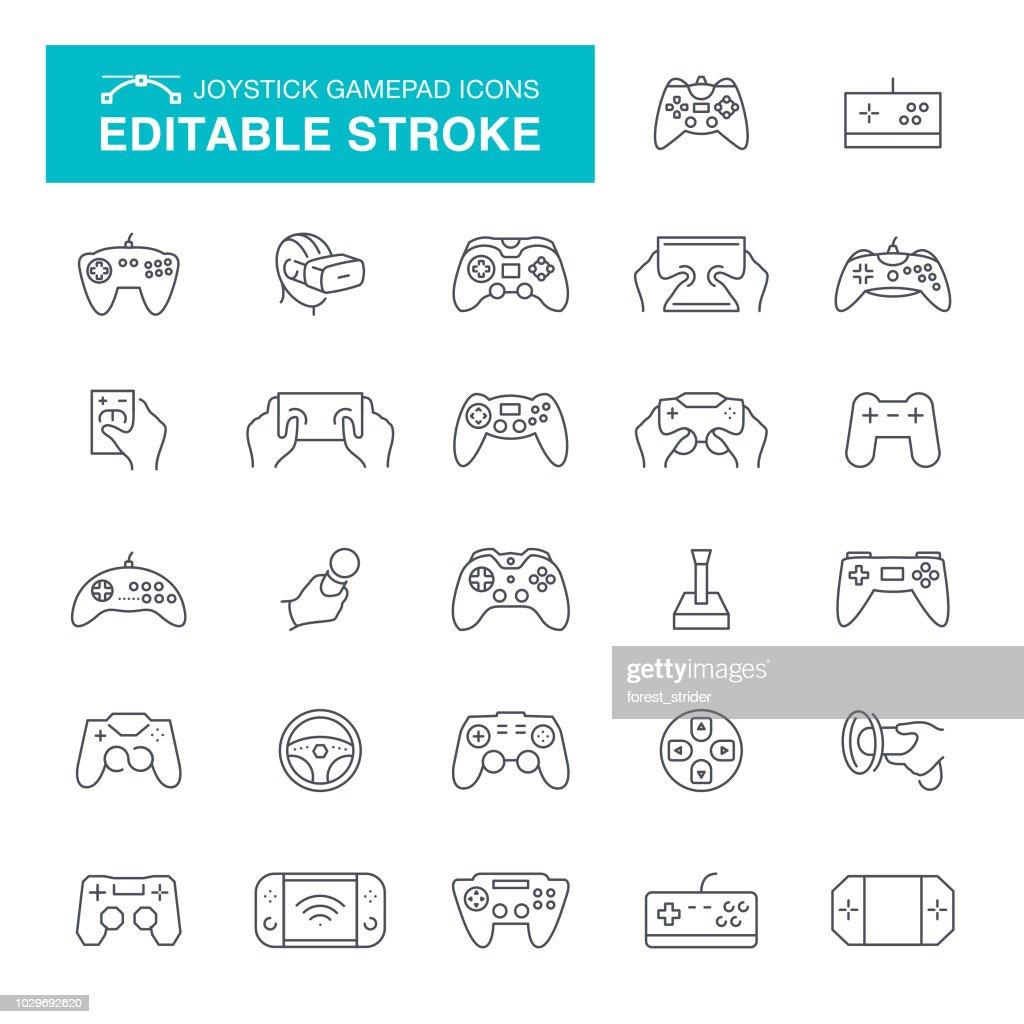 Joystick and Gamepad Editable Line Icons : stock illustration