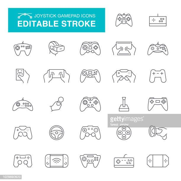 joystick and gamepad editable line icons - control stock illustrations