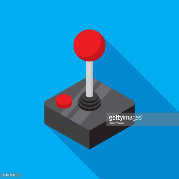 joystick icon flat - handheld video game stock illustrations