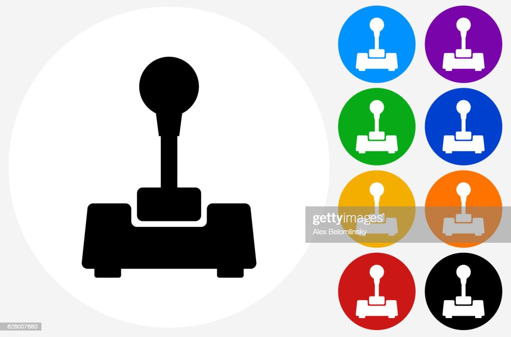 Joystick Icon on Flat Color Circle Buttons : stock illustration