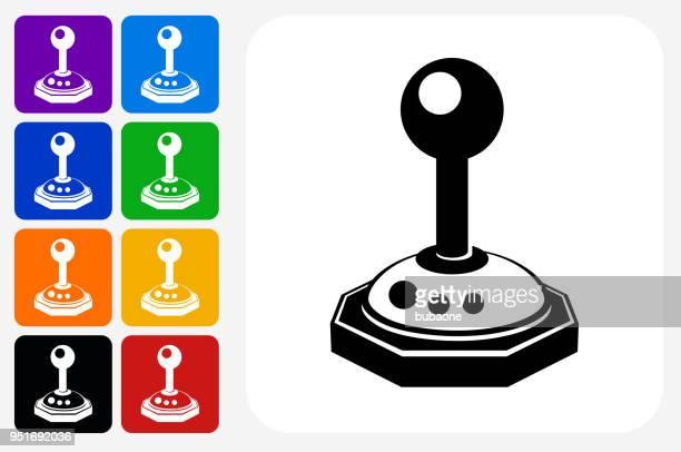 joystick icon square button set - joystick stock illustrations, clip art, cartoons, & icons