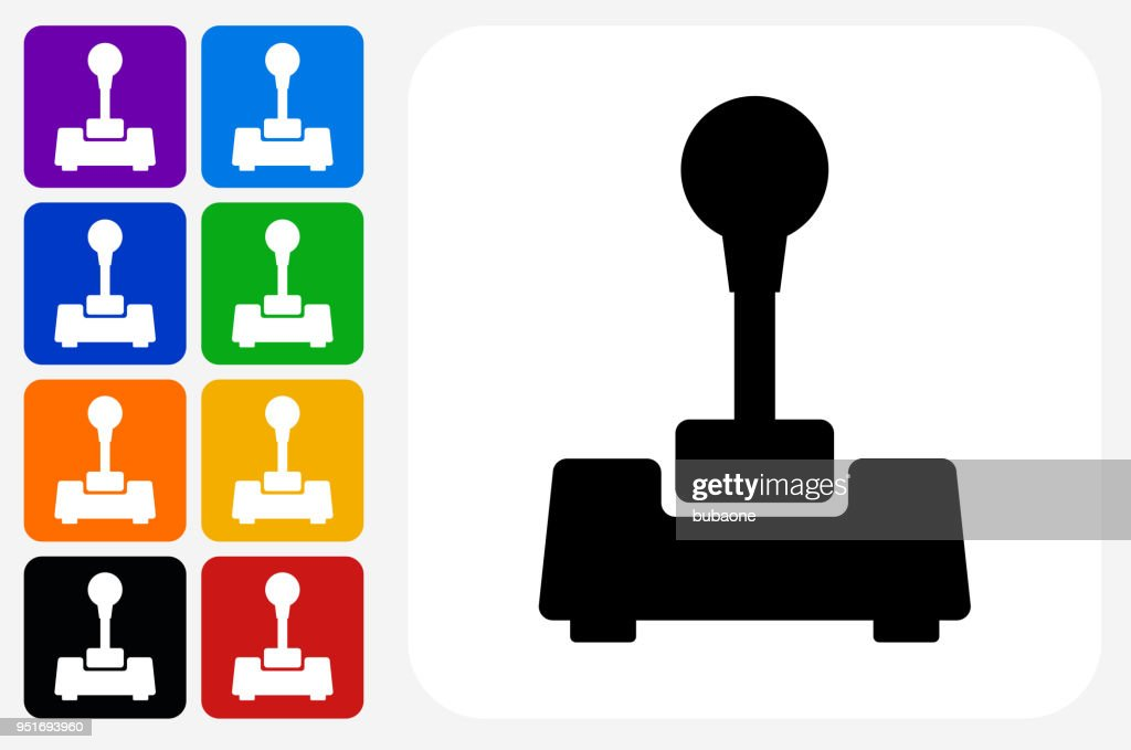 Joystick Icon Square Button Set : stock illustration