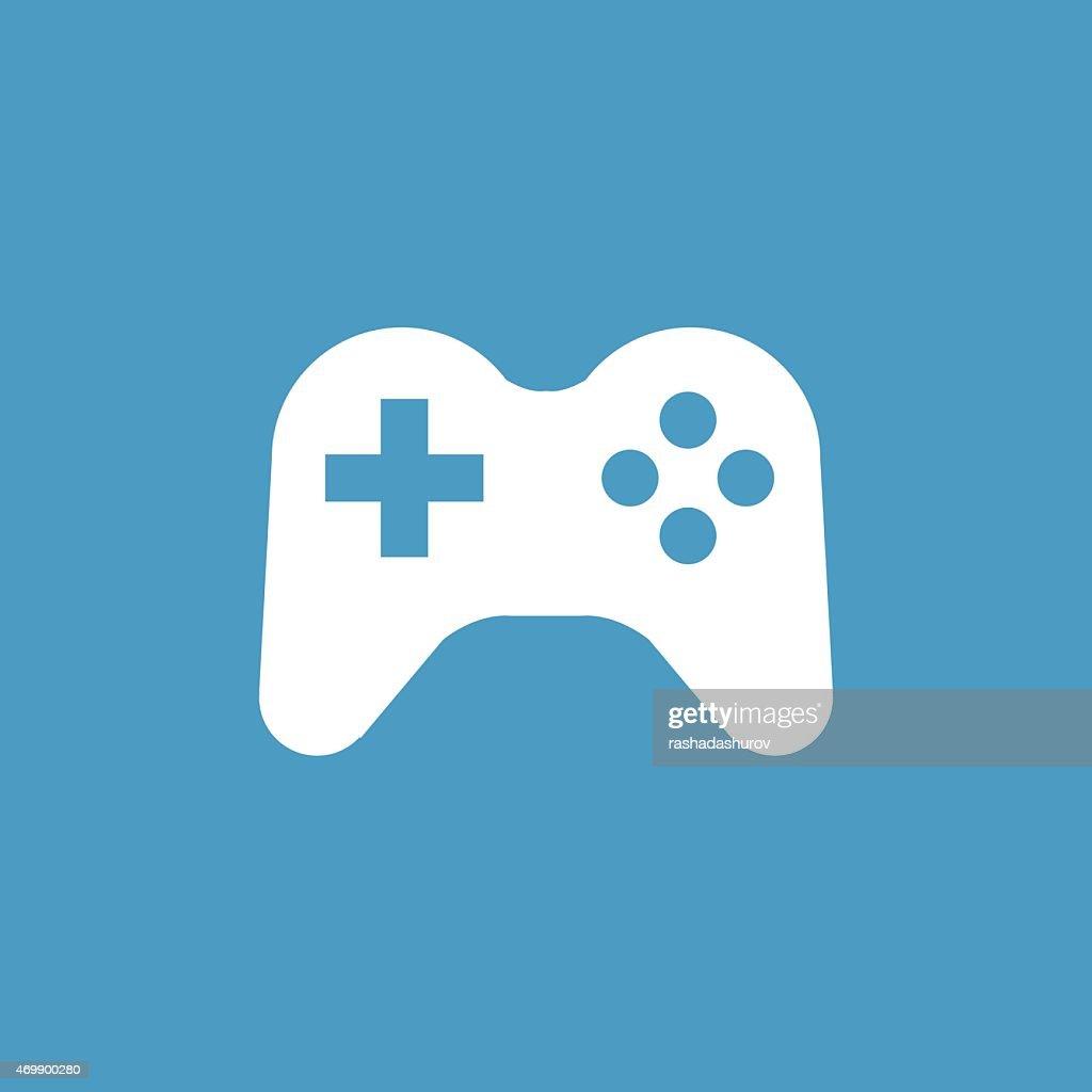 joystick icon, white on the blue background