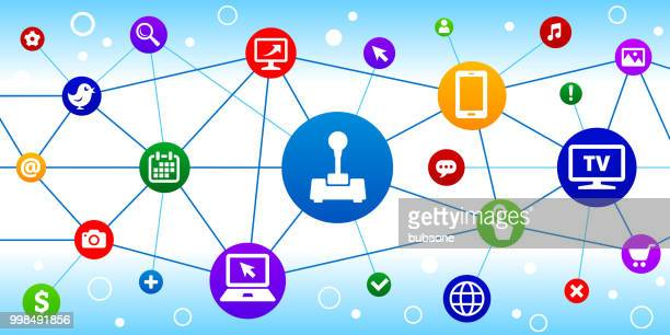 joystick internet communication technology triangular node pattern background - joystick stock illustrations, clip art, cartoons, & icons