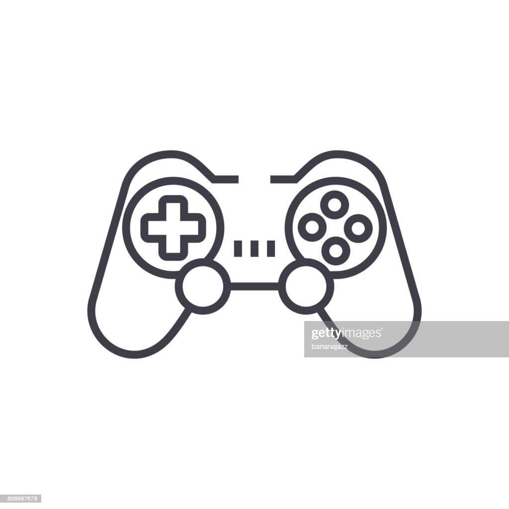 joystick,gamepad vector line icon, sign, illustration on background, editable strokes