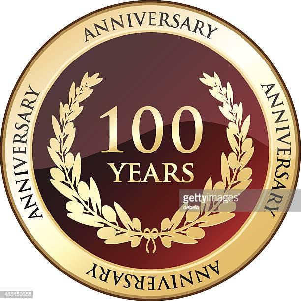 jubilee golden shield - 100th anniversary stock illustrations