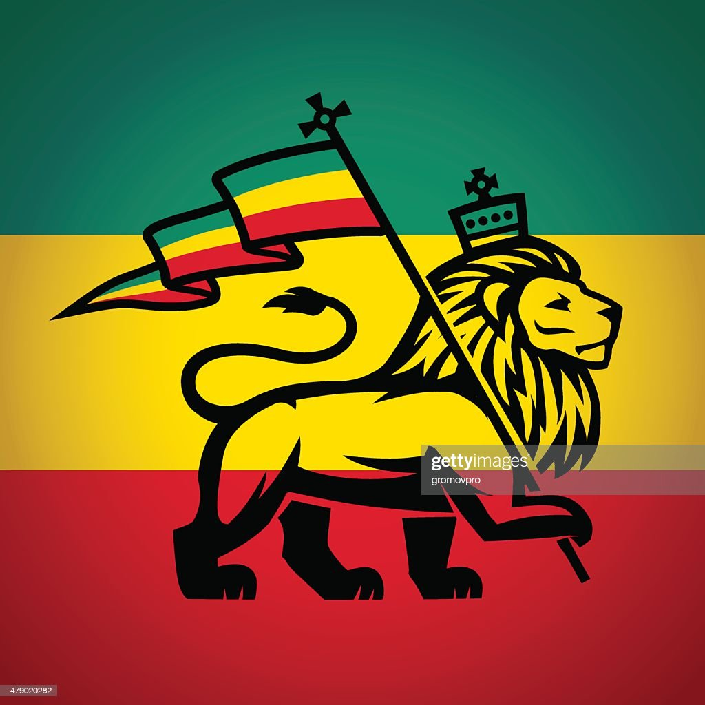 Judah lion with a rastafari flag. King of Zion logo