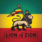 Judah lion with a rastafari flag. King of Zion logo