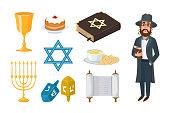 Judaism church traditional symbols isolated hanukkah religious design and synagogue passover hebrew character torah menorah holiday jew vector illustration