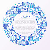 Judaism concept in circle with thin line icons: Orthodox jew, star of David, sufganiyot, hamsa, candles, synagogue, skullcap, rosary, Western Wal, Tanakh. Modern vector illustration, template for web page.