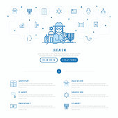 Judaism concept with thin line icons: Orthodox jew, star of David, sufganiyot, hamsa, candles, synagogue, skullcap, rosary, Western Wal, Tanakh. Modern vector illustration, web page template.