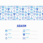 Judaism concept with thin line icons: Orthodox jew, star of David, sufganiyot, hamsa, candles, synagogue, skullcap, rosary, Western Wal, Tanakh. Modern vector illustration, template for web page.