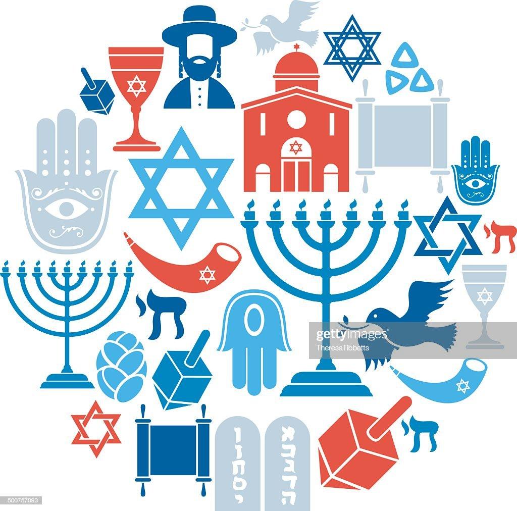 Judaism Icon Set : stock illustration