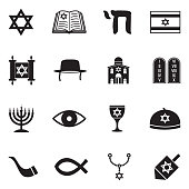 Judaism Icons. Black Flat Design. Vector Illustration.
