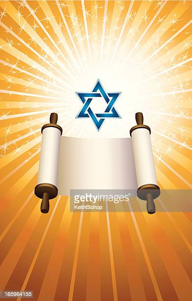 judaism religion, torah and star of david - torah stock illustrations